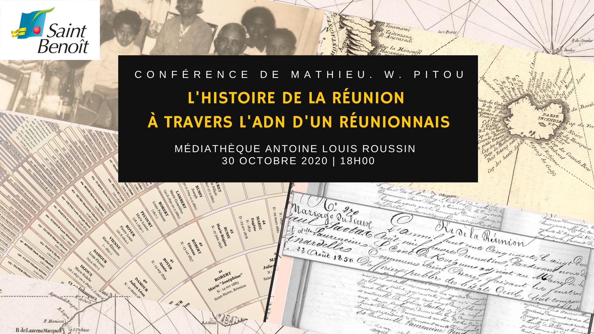 """Conférence de Mathieu Pitou """"L'histoire de la Réunion à travers l'ADN d'un Réunionnais"""""""