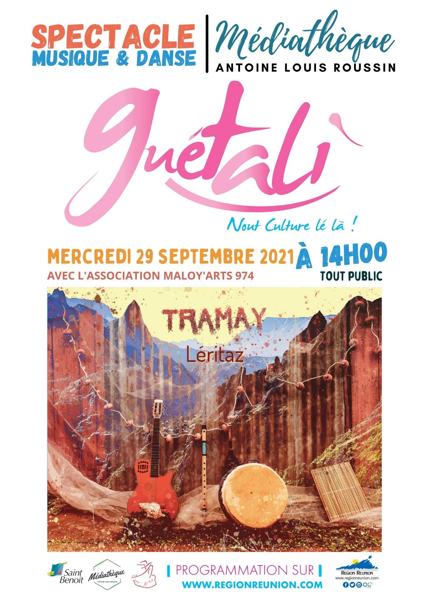 Concert-spectacle Tramay Léritaz Guétali 2021 Médiathèque St Benoît
