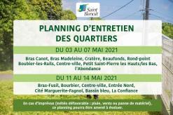 Planning d'entretien des quartiers du 03 au 14 mai