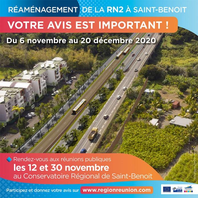Réaménagement de la RN2 à Saint-Benoit : Donnez votre avis !