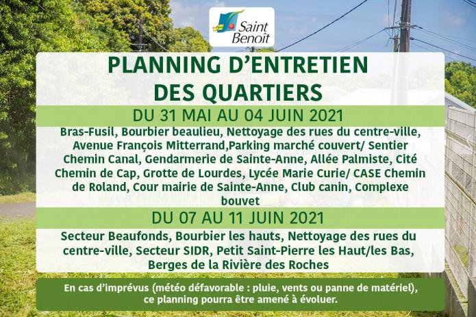 Planning d'entretien des quartiers du 31 mai au 04 juin 2021 et du 07 au 11 juin 2021